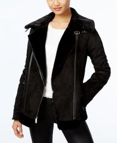 Laundry By Design Faux-Shearling Moto Coat  - Black XL