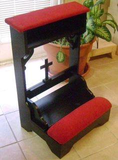This handmade prayer bench is gorgeous! Something like this, only brown cushions or something....