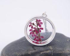 Véritable cadeau fleur collier pressé fleur pendentifs