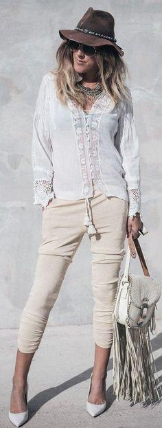 e0864e39589c #spring #summer #fashionistas #outfitideas | White + Cream Urban Boho  Stylish Outfits