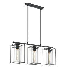 Suspension à 3 lumières en acier noir H110cm - Loncino - Suspensions-Suspensions, Plafonniers-Luminaires-Par type de…