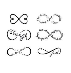Different infinity signs for tattoos