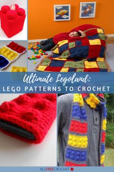 These Lego patterns are some of the best crochet projects. From Lego scarf patterns to bags and hats, you can work Lego ideas into any crochet piece. Crochet Lego, All Free Crochet, Cute Crochet, Crochet Hats, Crochet Blankets, Crocheted Afghans, Crochet Round, Baby Blankets, Easy Crochet
