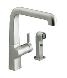KOHLER K-6334-VS Evoke Single Control Kitchen Sink Faucet with Sidespray, Vibrant Stainless