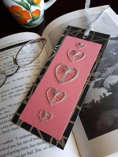 Bookmark Stitched Silver Heart on Salmon Pink Gift for Reader Enthusiast Teacher Gift Student Gift Bookmark Silver Ribbon Black and Silver