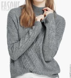 Купить Свитер серый кашемировый с косами. Свитер женский - купить свитер, свитер…