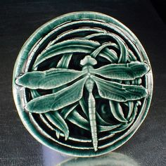 Dragonfly tile, wall decor, blue/green glossy glaze, wall hanging, kitchen backsplash tile, fireplace tile, bathroom tile by CampbellTileworks on Etsy