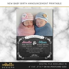This listing is for a new twins baby birth announcement printable card. New baby, new baby printable. Baby thank you card, Digital File, PDF, DIY, baby thank you card, Boy Thank you card, Girl Thank you card, 4 x 6, 5 x 7, A6 thank you card, digital thank you card, multiple photo baby birth printable, newborn baby announcement --DETAILS-- This listing is for a 4 x 6 inch, 5 x 7 inch or A6 (postcard size) digital invitation customized with your message. Please select your size from the drop…