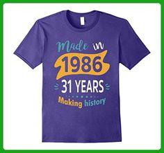 Mens Vintage Age 31 Years 1986 Making History 31th Birthday Shirt Medium Purple - Birthday shirts (*Amazon Partner-Link)