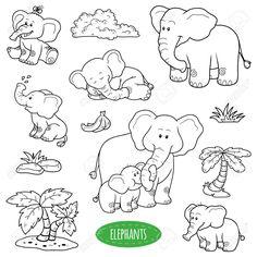 Farblos Satz Von Niedlichen Tiere Und Objekte, Vektor-Familie Der Elefanten…