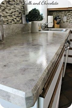 DIY How To Paint Laminate Countertops ! These all Turn Out So Gorgeous ! This is an Easy Update That Has Major Impact In Your Home !