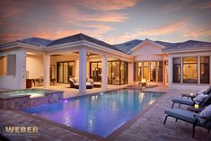 Mediterranean Home Design, Lanai, Pool & Hot Tub Area