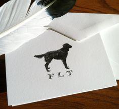 New to VeronicaFoleyDesign on Etsy: Monogrammed Flat Coated Retriever Stationery with vintage Dog art - Set of 10 -300 100% Cotton Savoy (16.00 USD)