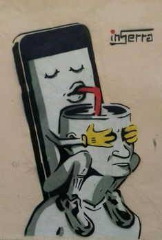Alienation - graffiti by inSerra Art Sketches, Art Drawings, Pencil Drawings, Pictures With Deep Meaning, Graffiti, Satirical Illustrations, Meaningful Pictures, Deep Art, Social Art