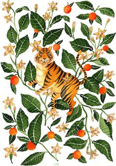 botanical, illustration, folk, modern, mural, wildlife, animals, painterly, pattern, plants, flowers, folk art, romanian, victorian, hertiage, tactile, landscapes, william morris, dreamy, jungle, bold, painting, illustrators, tiger, foliage, leaves