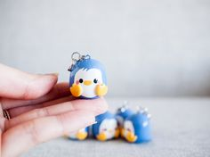 Kawaii Blue Penguin Charm Keychain  Planner Charm by momomints