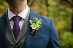 Rosemary, lavender, and mint boutonniere #cedarwoodweddings