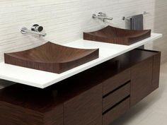 Appealing shape and grain in unusual wooden sinks. Laguna Pure vanity by aLEGNA.