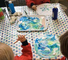 Eyfs space them. Shaving foam and paint,marble paintings. Planets!