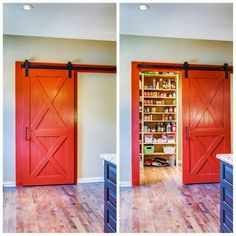 Kitchen organization: pantry behind a barn door A walk in pantry is still a hot commodity but can sometimes be an eye sore, so dress it up with something fun! See more storage solutions by following the link in our bio today // #kitchen #design #pantry #storage #organization #solution #inspiration #beforeandafter #kitchendesignconcepts