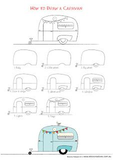 caravan Last drawing activity for the Holidays! Well our holidays anyway. A sweet little caravan to Doodle Drawings, Easy Drawings, Doodle Art, Camping Theme, Camping Crafts, Camping Signs, Art Projects, Sewing Projects, Quilting Projects