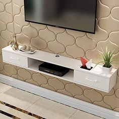 Best Seller Wall-Mounted TV Cabinet Wall Shelf Floating Shelf TV Background Wall Decoration Shelf Hanging TV Cabinet Floating TV Rack Bedroom Living Room White (Color : B, Size : online - Toptrendygroup - - Wall Mount Tv Shelf, Wall Mounted Tv, Tv Unit Decor, Tv Wall Decor, Tv Rack Design, Floating Tv Shelf, Floating Frame, Hanging Tv, Bedroom Tv Wall