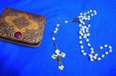 Vintage German Christianity Rosary Cross Pendant in Case #CD