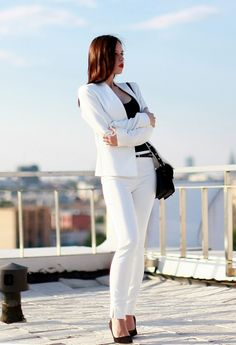 White Suit Outfit Idea for Work Days
