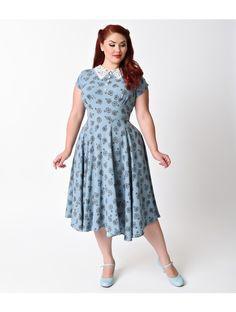 1940s Style Red Shirt Waister Short Sleeve Swing Dress ...