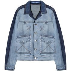 9be599171a1 KENZO Tonal Denim Jacket ( 397) ❤ liked on Polyvore featuring men s  fashion