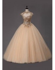Cap sleeves high collar gold embroidery appliques champagne tulle ball gown quinceanera prom wedding dress 5W-051