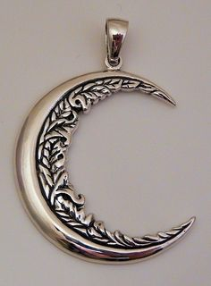 Moon Flower Pendant .925 Sterling Silver Pendant Wiccan Pagan Magick Moon Amulet Pendant