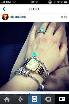 Bracciale e anello cuore smaltato color verde Tiffany❤www.lumierebijoux.it