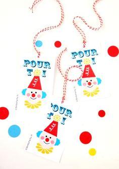 Étiquettes cadeaux thème anniversaire cirque