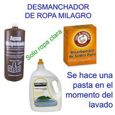 Desmanchador de ropa milagro Diy Home Cleaning, Cleaning Recipes, Green Cleaning, House Cleaning Tips, Diy Cleaning Products, Cleaning Hacks, Natural Cleaners, Diy Cleaners, Useful Life Hacks