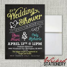 Chalkboard Wedding Couples Shower Invitation by WickedStationery, $1.00