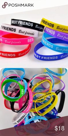 SALE! 5pcs Best Friends BUNDLE !! Perfect for a cute gift this Valentine's Day! They are elastic! About 2.3 inch diameter.  Color:  Purple, yellow, green, blue, and pink. Jewelry Bracelets