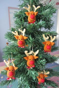 Reindeer Crochet Christmas Tree Ornaments.