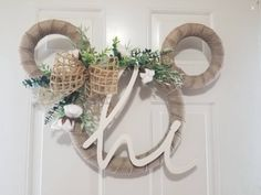 Mickey Mouse Wreath, Mickey Mouse Decorations, Disney Mickey Mouse, Mickey Christmas, Christmas Home, Bauble Wreath, Cotton Wreath, Holiday Wreaths, House Warming