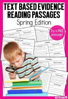 These spring reading passages will get your students to USE the text and prove their answers! Included in this reading intervention pack for comprehension and fluency are 44 text based evidence passages for your students. 22 high interest topics are cover Reading Intervention, Reading Passages, Reading Comprehension, Fluency Activities, Vocabulary Activities, Reading Lesson Plans, Reading Lessons, Text Based Evidence, Classroom Solutions