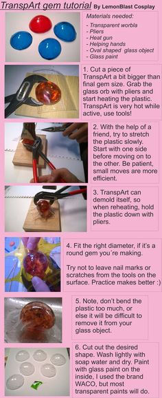 TranspArt tutorial by LemonBlast Cosplay. Gems with transparent worbla, clever idea