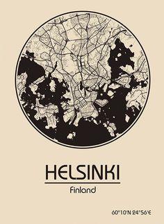 Karte / Map ~ Helsinki, Finnland / Finland