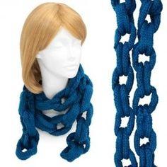 Scarf Chain Link Design Medium Blue Knit Soft Long Neck Wrap Fashion Shawl  http://stores.ebay.com/beachcats-bargains  beachcats bargains