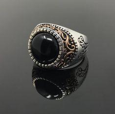 0173bdf59 Details about Unique 925k Sterling Silver Filigree Black Onyx Stone Men s  Ring US Seller K44Y