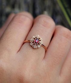 Ruby Engagement Ring Rose Gold Vintage Oval Cut Gypsy Set Flower Cluster A . - Ruby Engagement Ring Rose Gold Vintage Oval Cut Gypsy Set Flower Cluster Antique Halo Diamond W - Ruby Engagement Ring Vintage, Engagement Ring Settings, Diamond Wedding Rings, Vintage Engagement Rings, Halo Diamond, Ruby Ring Vintage, Vintage Diamond, Wedding Bands, Gold Wedding