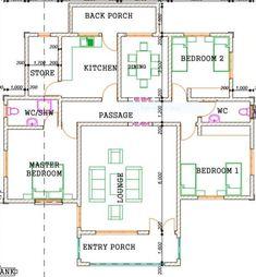 Cheap House Plans, Small Modern House Plans, Affordable House Plans, Small House Floor Plans, My House Plans, Family House Plans, Country Style House Plans, Two Bedroom House Design, Flat House Design