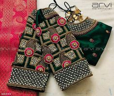 Gorgeous bottle green color designer blouse with hand embroidery gold thread and stone work on sleeves and neckline. Wedding Saree Blouse Designs, Pattu Saree Blouse Designs, Half Saree Designs, Blouse Designs Silk, Blouse Patterns, Hand Work Blouse Design, Simple Blouse Designs, Stylish Blouse Design, Diana
