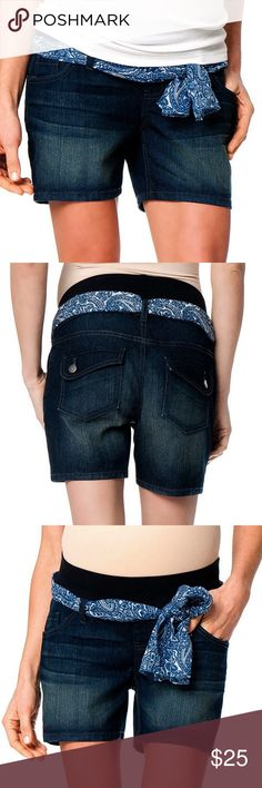 """🆕Trendy Maternity shorts by Oh baby by Motherhood Dark blue denim shorts with a coordinating scarf belt. Features classic 5-pocket styling with back flap pockets. Elastic tummy band sits just below your belly for support. Cotton/Polyester/spandex. Oh baby size chart: S (4-6) hips 38-39"""". Please order pre-pregnancy size. Brand new with tags. Motherhood Maternity Shorts Jean Shorts"""