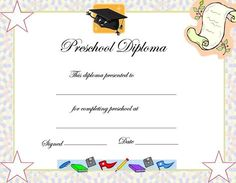 Preschool Graduation Certificate Template Free  Kindergarten