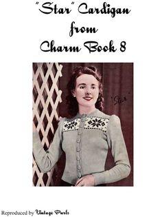 Free 1940's Knitting - Charm Star Cardigan Pattern